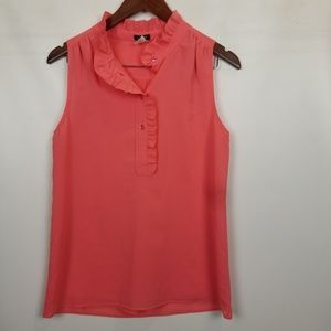 J. Crew coral ruffle sleeveless top size 6
